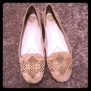 Vince Camuto Grommet Tan Suede Loafers Size 10